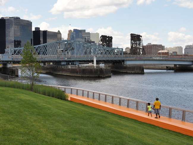 The Newark riverfront boardwalk