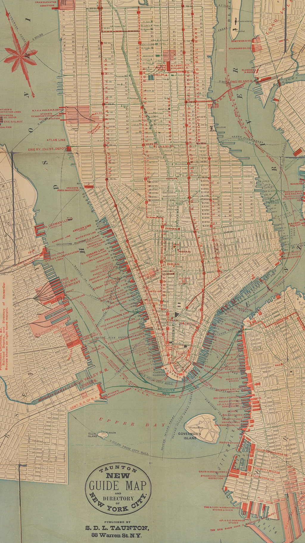 "A map of the elevated (red) and horsecar (blue) lines in Manhattan, 1882 | Image via <a href=""https://digitalcollections.nypl.org/items/9efab1b0-f3a2-0130-b882-58d385a7b928"">NYPL</a>"