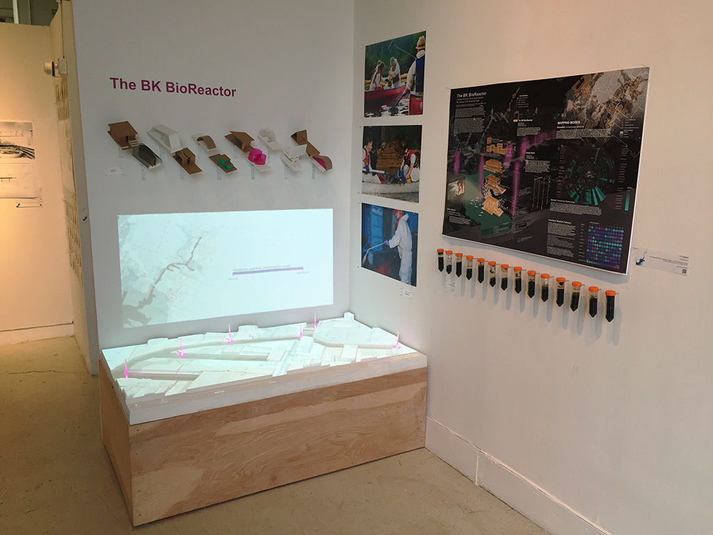 The winning team's exhibition display, complete with sludge samples from the canal. | Photo by Allison Henry