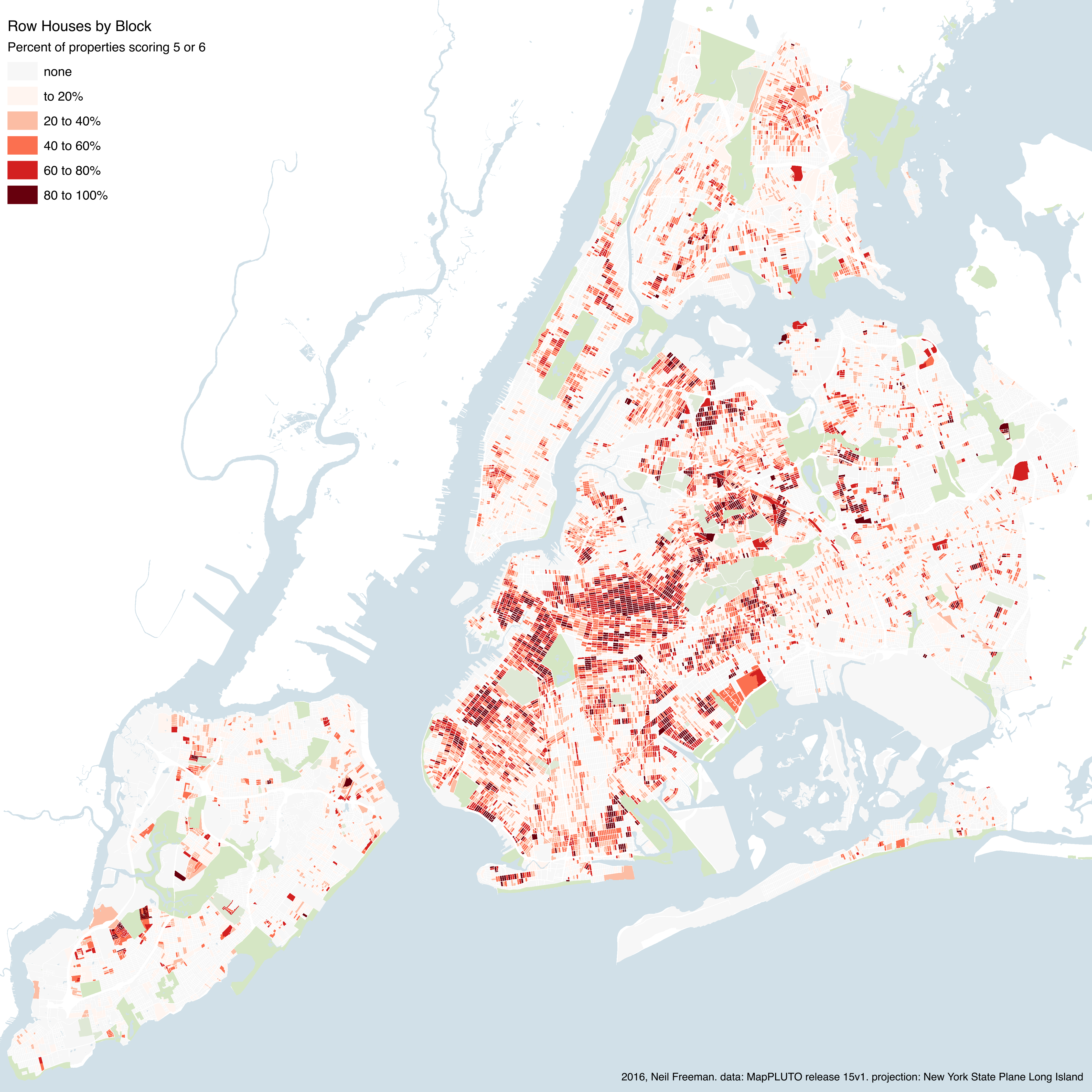 The concentration of row houses across New York City, block by block | Graphic by Neil Freeman, from MapPLUTO data