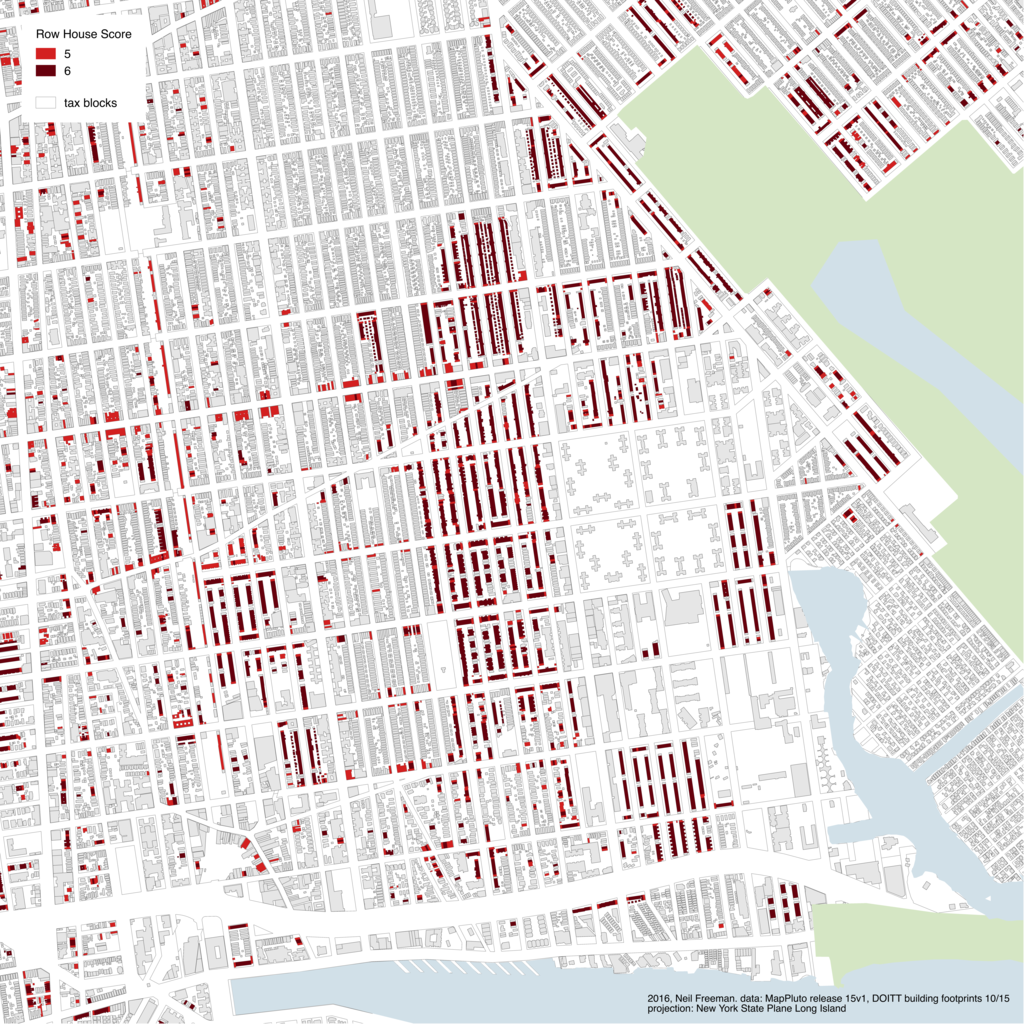 The row houses of Sheepshead Bay; the row house block in the image's center replaced the Coney Island Jockey Club in the 1920s | Graphic by Neil Freeman, from MapPLUTO data