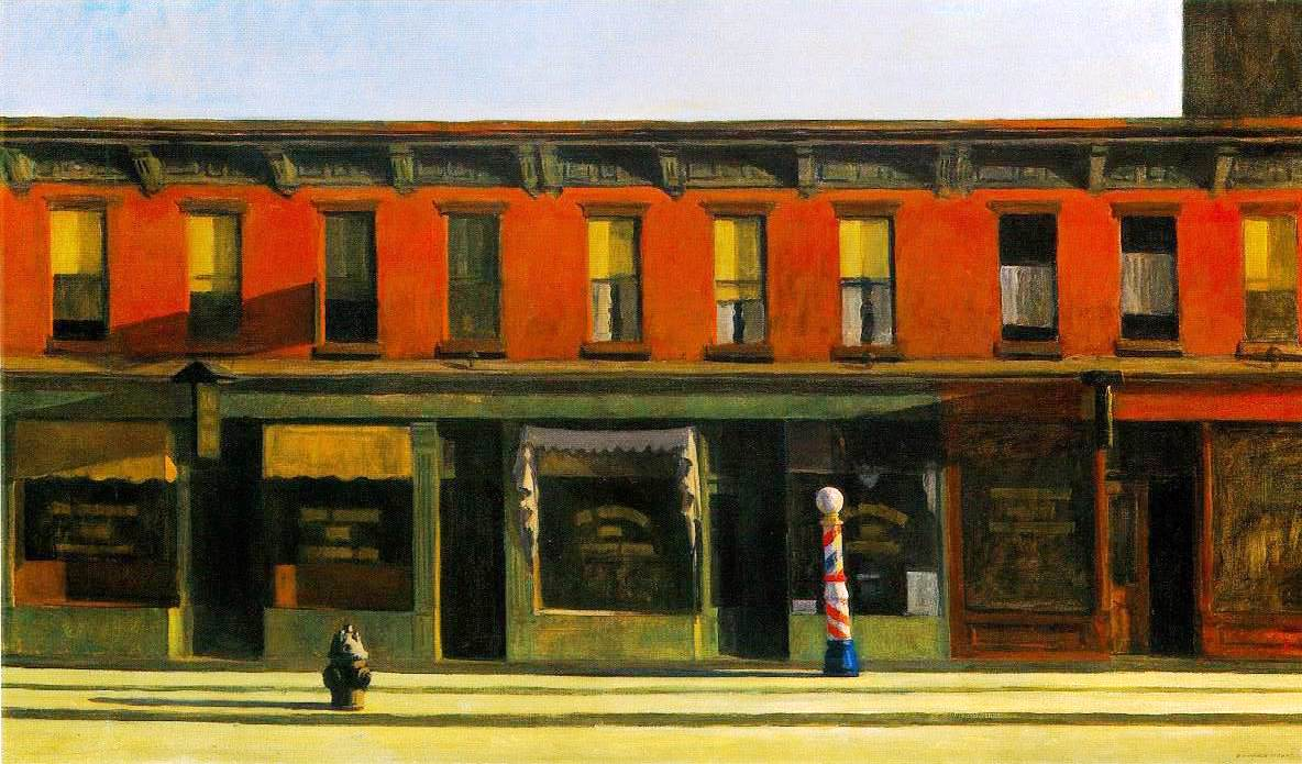 """Early Sunday Morning, oil on canvas, 1930 