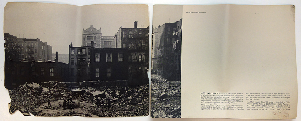 """The introduction to the Mott Haven Plan '67 describes its proposal: """"Buidling new apartments where land is available and rehabilitating existing apartments in structurally sound buildings,"""" along with """"new day care, head start, and health centers, and improvements of park and recreation facilities, streets, sidewalks, street lighting, and planting.""""   From <em>Mott Haven Plan '67</em> via New York City Municipal Library"""
