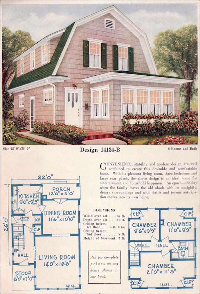 "Dutch Colonial Revival Home, Design No. 14134B, from the C.L. Bowles catalogue, 1925. Courtesy of <a href=""http://www.antiquehomestyle.com/"">Antique Home Style</a>."
