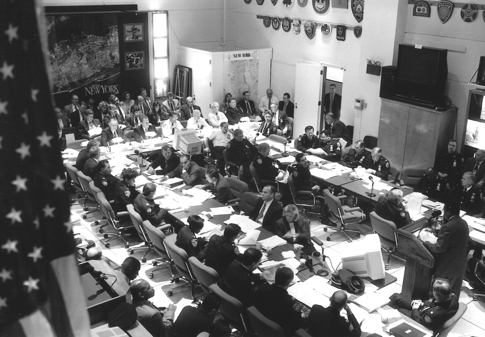 An early departmental CompStat report-back at 1 Police Plaza. Photo courtesy of Harvard Kennedy School, Ash Center for Democratic Governance and Innovation