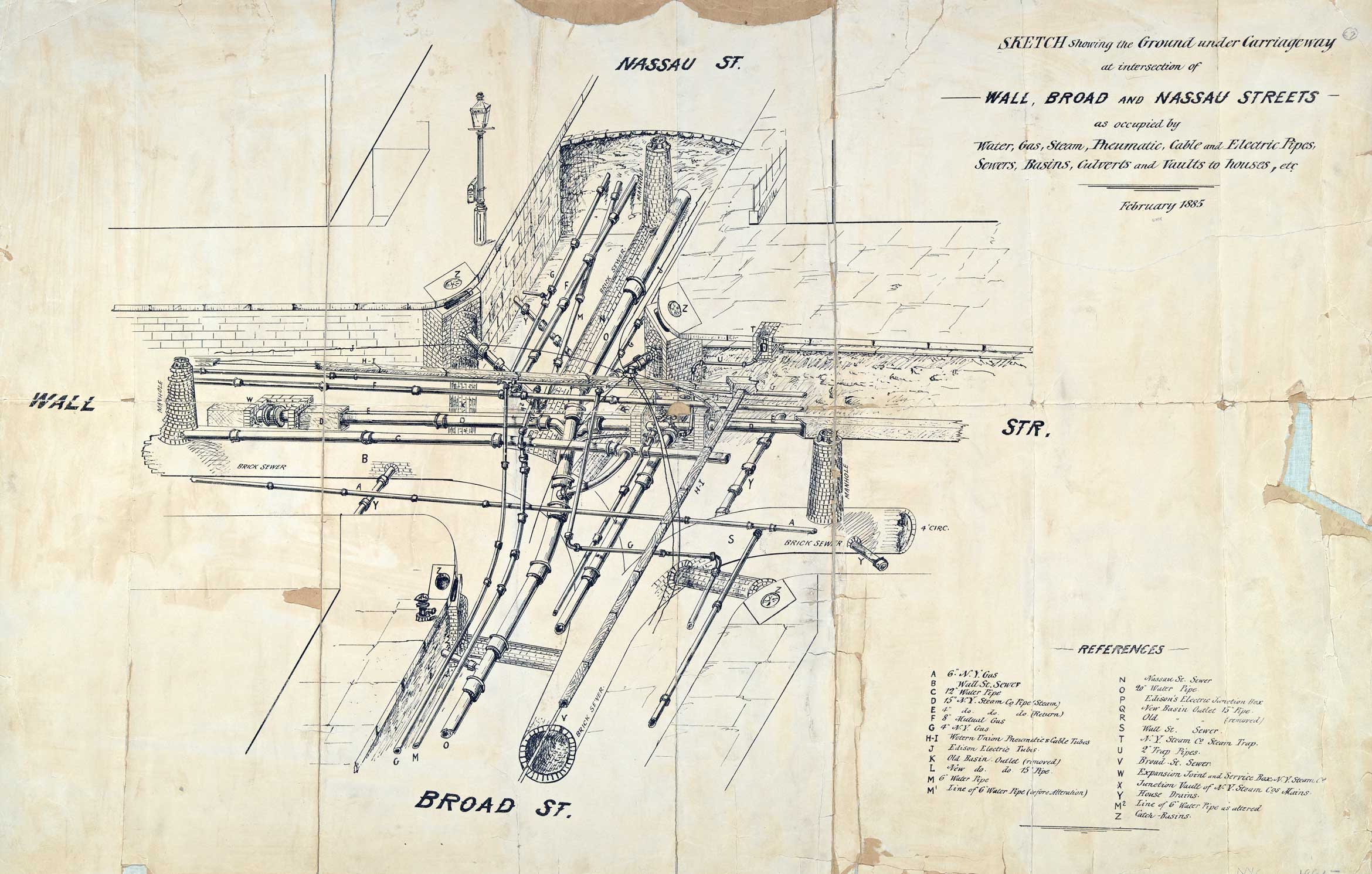 """Pipes and utilities under Wall, Broad, and Nassau Streets in 1885. Image via <a href=""""https://digitalcollections.nypl.org/items/c83b6c70-f3a2-0130-2afd-58d385a7b928"""">NYPL Digital Collections</a>"""