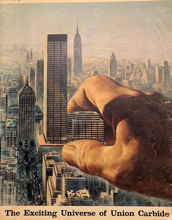An illustrated cover of a Union Carbide corporate brochure from 1960 depicts a giant hand reaching out toward the company's eponymous headquarters building. The giant hand was a signature motif of Union Carbide's advertising campaigns during this era.