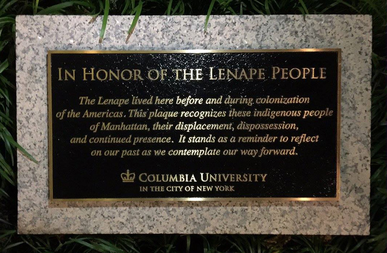A plaque commissioned by the Native American Council at Columbia University. Photo courtesy the Native American Council