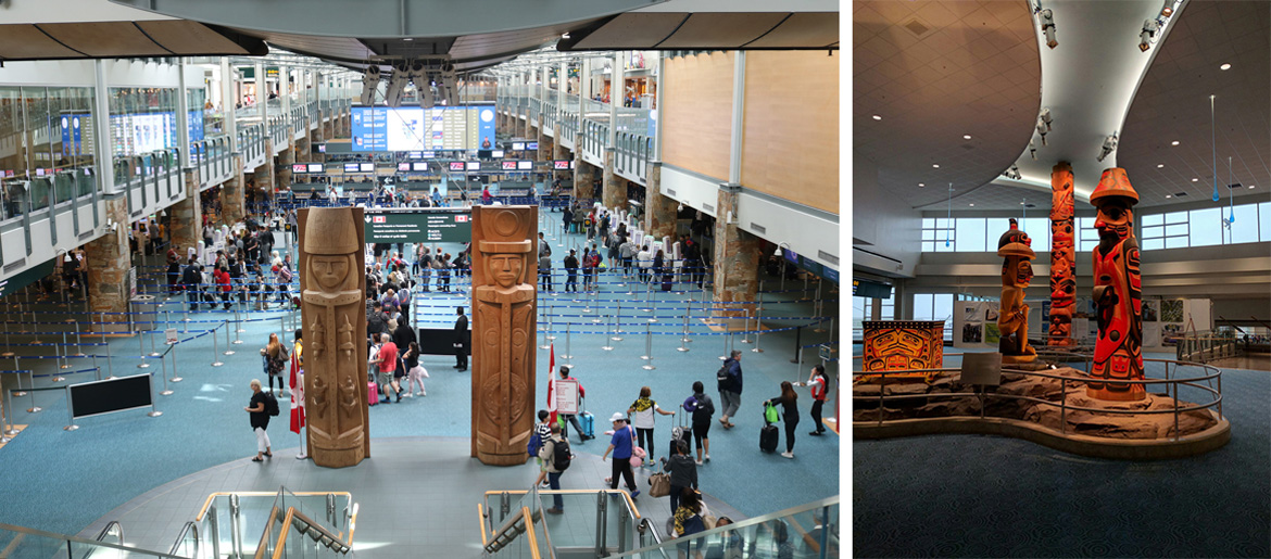"The international arrivals hall at Vancouver International Airport. Left: Photo by TagaSanPedroAko via <a href=""https://commons.wikimedia.org/wiki/File:2019-07-20_International_arrivals_hall_of_Vancouver_International_Airport_0934.jpg "">Wikimedia Commons</a>. Right: Photo by Reg Natarajan via <a href="" https://commons.wikimedia.org/wiki/File:YVR_(25789368915).jpg""> Wikimedia Commons</a>"