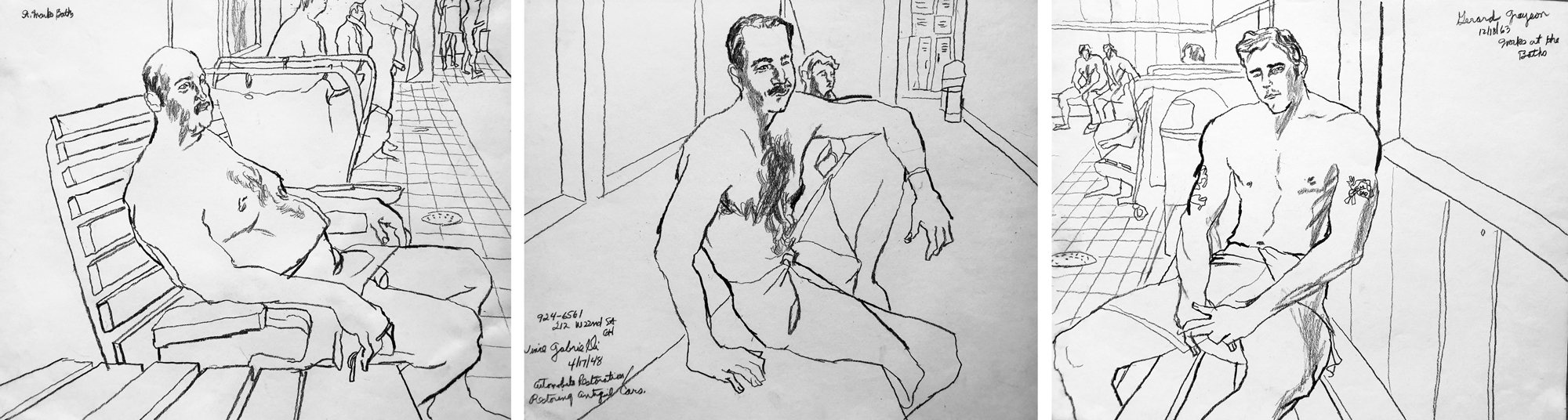 Patrons at the New St. Marks Baths, 1984. Illustrations by <a href=https://www.instagram.com/jrugger1949/>John Ruggeri</a>. Predicting that the New St. Marks Baths was on the verge of closure, Ruggeri regularly made on-site drawings of the varied patrons, whom he would also engage in conversation about their lives, the health crisis, and safe sex. Sometimes he labeled his works with the sitter's name, profession, birthdate, phone number, and street address. He drew most subjects in the main room, close to the whirlpool and showers. Conveying a strong sense of community, belonging, and trepidation, Ruggeri's tender portrayals constitute a remarkable archive of the eleventh hour of the New St. Marks Baths.