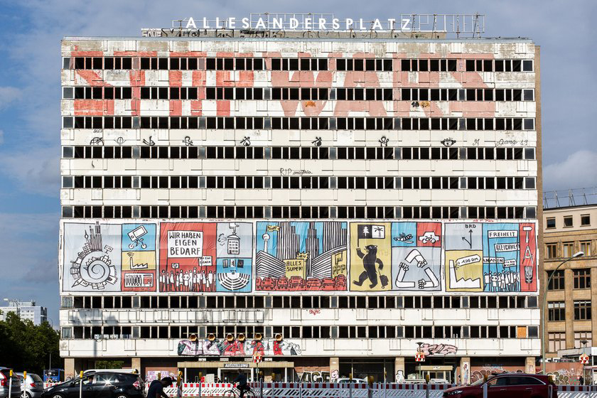 The main façade of the former Haus der Statistik building along Karl-Marx-Allee, as seen from Alexanderplatz, the commercial center of the former East Berlin. Photo courtesy of ZUsammenKUNFT